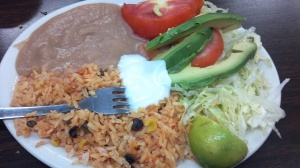 The Sides - refried beans, rice, avocado, salad