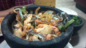 Mocajetes - spicy cheesy shrimp, beef, chicken